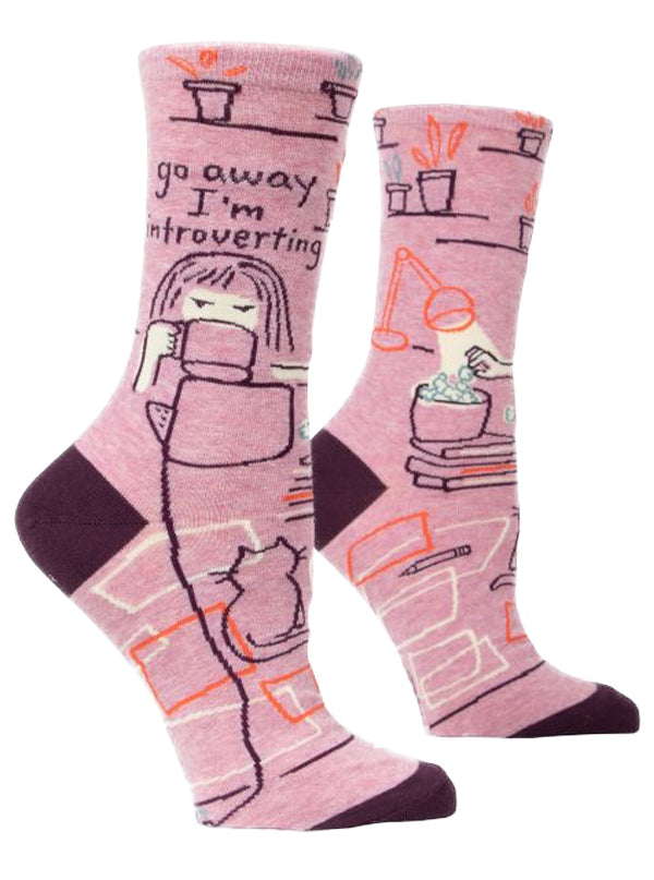 Women's Go Away I'm Introverting Crew Socks