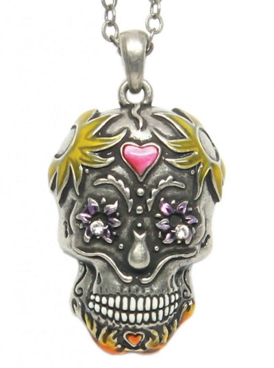 """Day Of The Dead Sugar Skull"" Necklace by Pacific Trading - www.inkedshop.com"