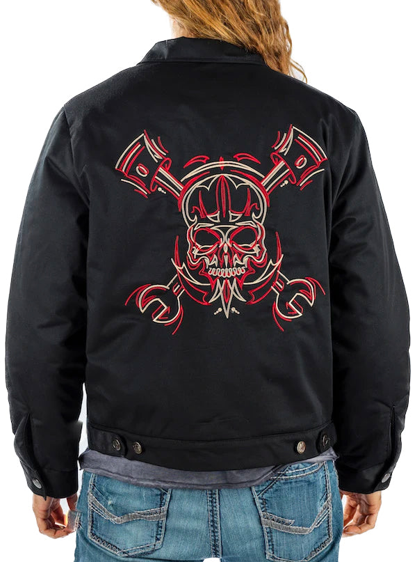 Men's Full Pinstripe Skull Mechanic Jacket by Lethal Threat