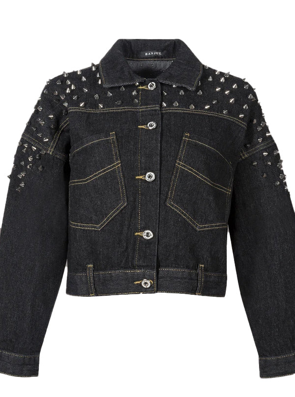 Women's Cropped Denim Studded Jacket by Pretty Attitude Clothing