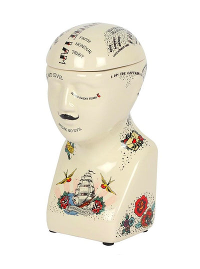 """Phrenology Head"" Storage Jar"
