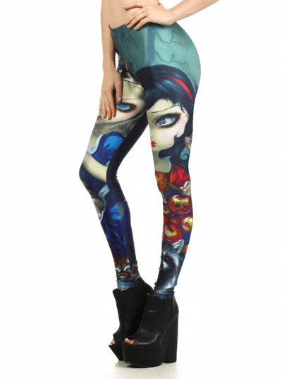 "Women's ""Alice And Snow White"" Leggings by Jasmine Becket-Griffith for Poprageous (Teal) - www.inkedshop.com"