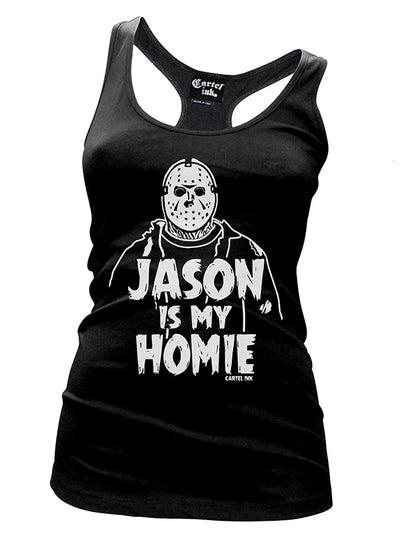 "Women's ""Jason Is My Homie"" Racerback Tank by Cartel Ink (Black)"