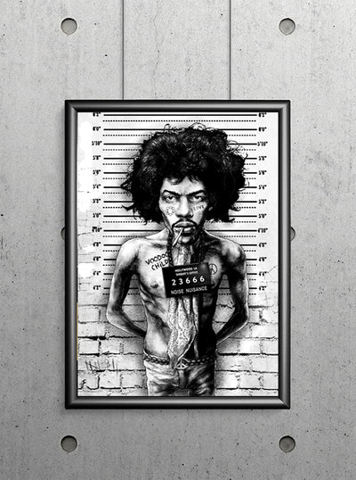 Jimi Mugshot Print by Marcus Jones for Lowbrow Art Company