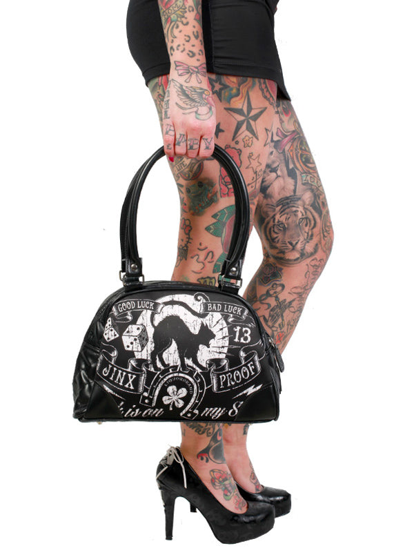 "Women's ""Jinx Proof"" Classic Bowler Bag by Liquorbrand (Black)"