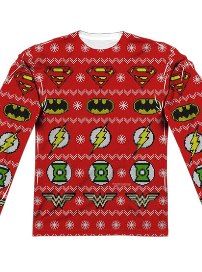 "Men's ""Justice League"" Ugly Holiday Sweater Long Sleeve Tee by DC Comics (Red)"