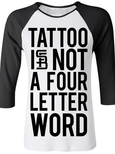 Women's Four Letter Word Baseball Tee by Steadfast Brand (White/Black)
