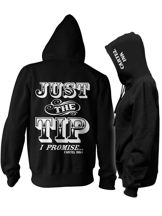 "Unisex ""Just The Tip"" Zip Up Hoodie by Cartel Ink (Black) - www.inkedshop.com"