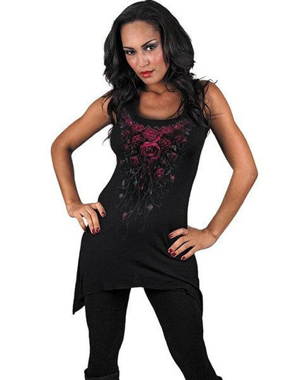 "Women's ""Blood Rose"" Camisole Dress by Spiral USA (Black) - www.inkedshop.com"