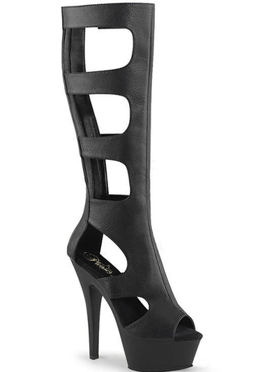 "Women's ""Kiss 200"" Knee High Boot by Pleaser (Black) - www.inkedshop.com"