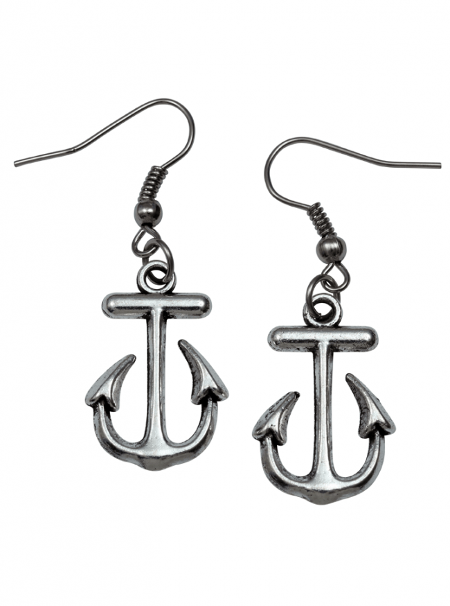 Anchor Earrings by Kitsch 'n' Kouture (Silver) - www.inkedshop.com