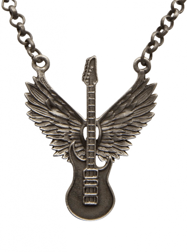 Winged Guitar Necklace by Kitsch 'n' Kouture (Gun Metal) - www.inkedshop.com