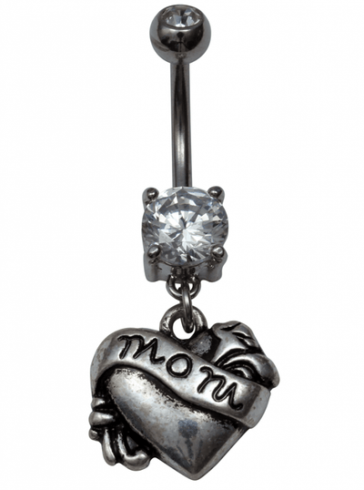 Mom Tattoo Naval Jewelry by Kitsch 'n' Kouture (Silver) - www.inkedshop.com