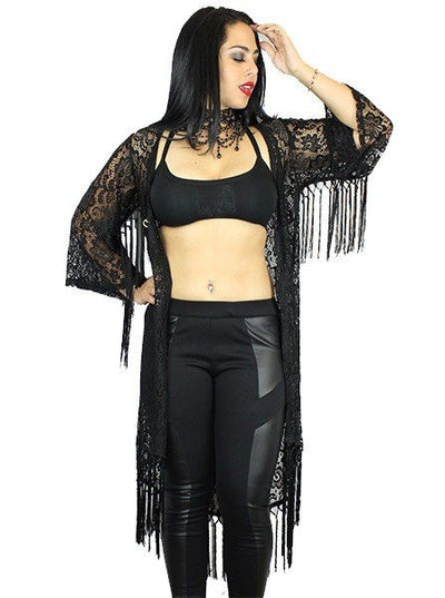 "Women's ""Huntress"" Lace & Fringe Kimono by Rodeo Fox (Black) - www.inkedshop.com"