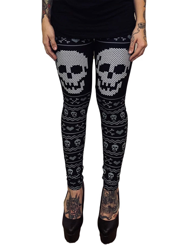 Women's Knit Bitch Skull Christmas Leggings by Too Fast