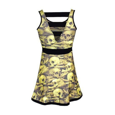 "Women's ""Skull Pile"" Penny Dress by Kreepsville 666 (Natural) - InkedShop - 3"