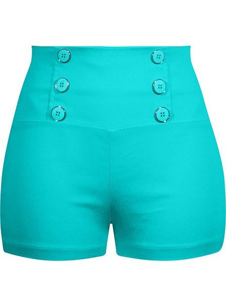 Women's High Waist Retro Shorts by Double Trouble Apparel (Mint) - www.inkedshop.com