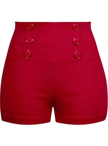 Women's High Waist Retro Shorts by Double Trouble Apparel (Red) - www.inkedshop.com