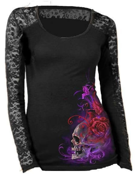 "Women's ""Purple Haze"" Lace Sleeve Tee by Lethal Angel (Black) - www.inkedshop.com"