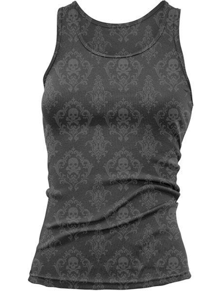 "Women's ""LA Classic Skull"" Burn Out Tank by Lethal Angel (Grey) - www.inkedshop.com"