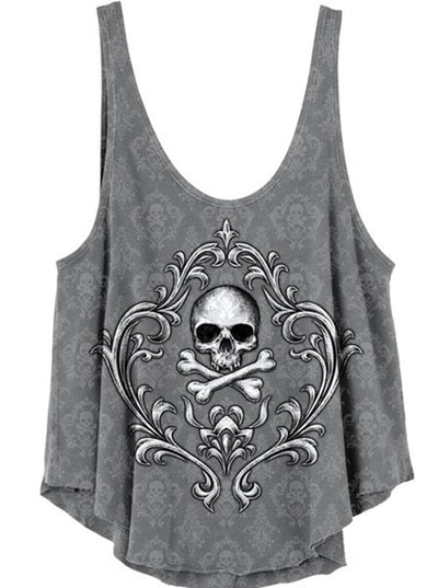 "Women's ""Skull N Crossbones"" Burn Out Drape Tank by Lethal Angel (Grey) - www.inkedshop.com"