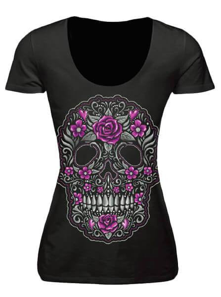 "Women's ""Skull Of Flowers"" Burnout Tee by Lethal Angel (Grey) - www.inkedshop.com"