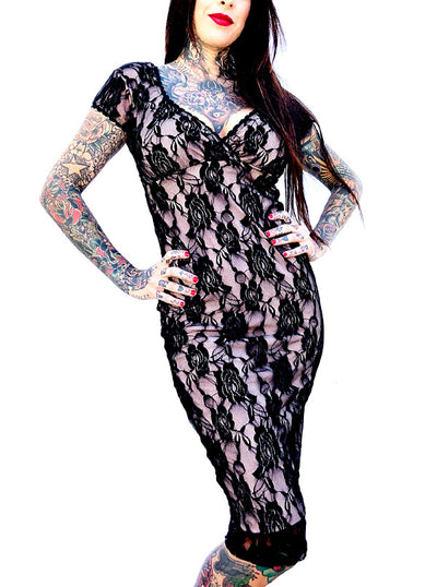 Women's Rose Lace Anabella Dress by Switchblade Stiletto