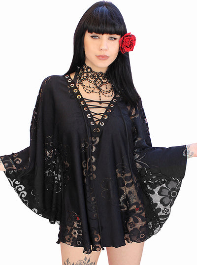 Women's Gypsette Kaftan Crochet Coverup by Demi Loon (Lace Noir)