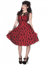 "Women's ""Floral Flocked"" Lace Flaired Dress by Voodoo Vixen (Red) - www.inkedshop.com"