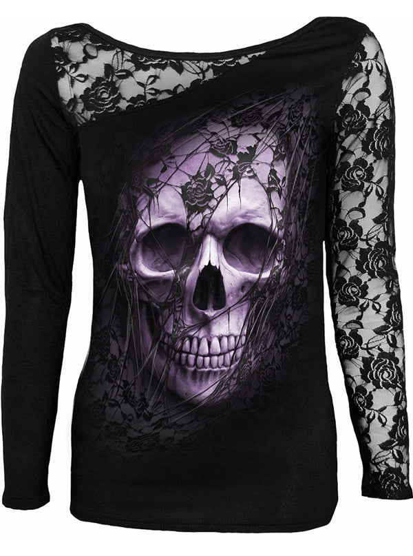 Women's Lace Skull One Shoulder Top by Spiral USA