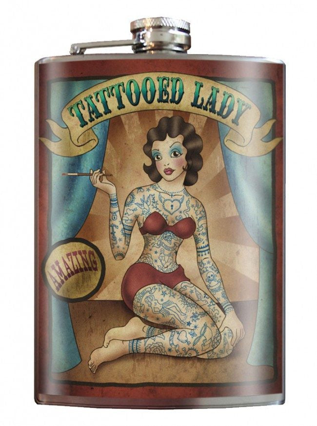 """Tattooed Lady"" Flask by Trixie & Milo - InkedShop - 1"