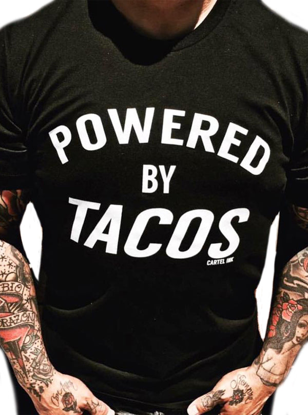 Men's Powered by Tacos Tee by Cartel Ink