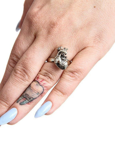 """Anatomical Heart"" Ring by Lost Apostle (Antique Silver) - InkedShop - 3"
