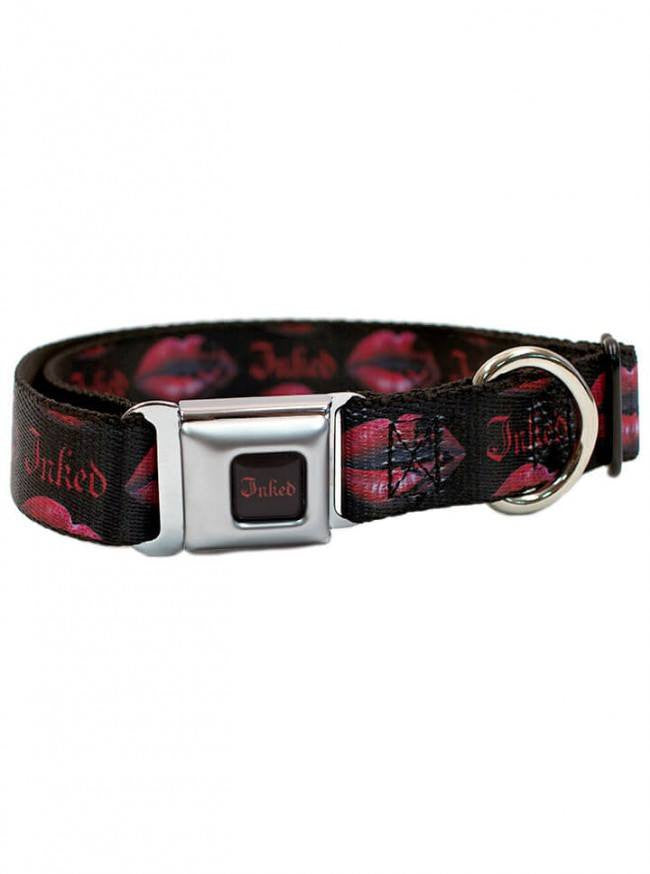 """Last Kiss"" Dog Collar by Inked (Black/Red) - www.inkedshop.com"