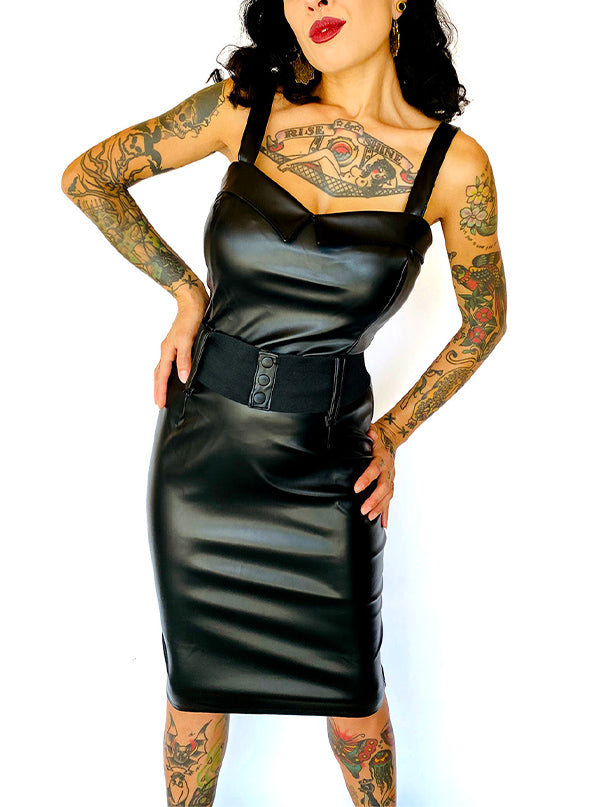 Women's Faux Leather Darling Dress by Switchblade Stiletto