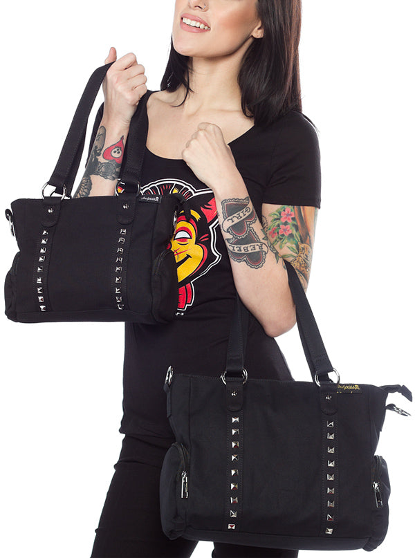 """Leda"" Canvas Studded Purse by Sourpuss (More Options)"