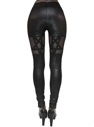 Women's Queen of the Damned Pentagram Leggings by Rat Baby (Glitter Black)