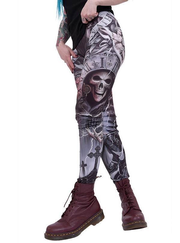 Women's Life & Death Cross Allover Leggings by Spiral USA