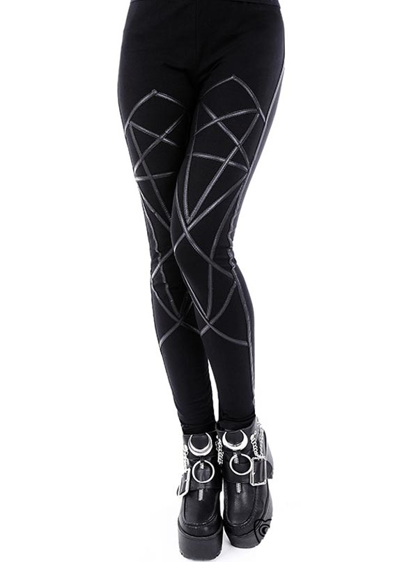 "Women's ""Pentagram"" Leggings by Restyle (Black)"