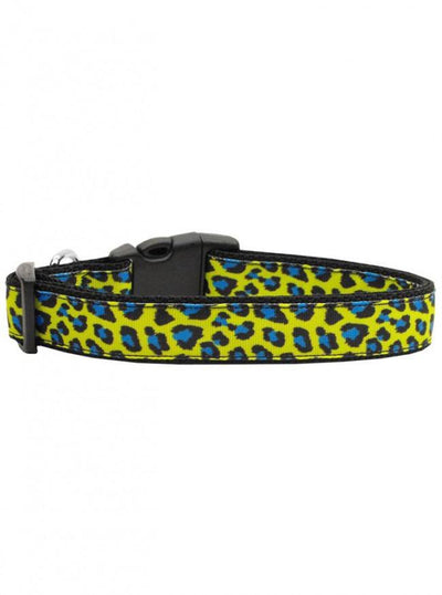 """Leopard"" Nylon Collar by Mirage Pet Products (Blue/Yellow) - www.inkedshop.com"