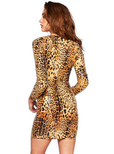 Women's Leopard Sequin Dress by Pretty Attitude Clothing