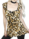 "Women's ""Evil Kitty"" Lolita Babydoll Top by Demi Loon (Leopard)"
