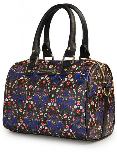 """Bright Sugar Skull"" Printed Pebble Duffle by Loungefly (Black) - www.inkedshop.com"