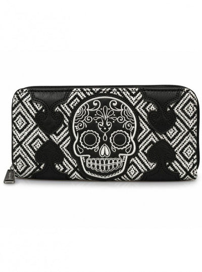 """Sugar Skull"" Tweed Wallet by Loungefly (Black/White) - www.inkedshop.com"