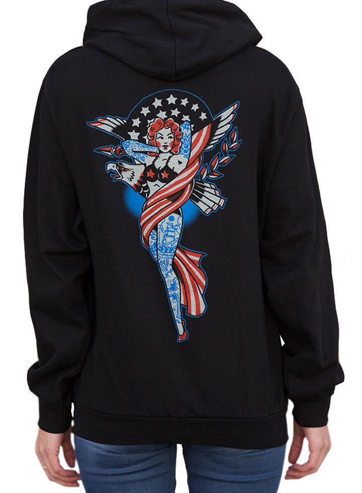 "Women's ""Liberty"" Zip Hoodie by Black Market Art (Black) - www.inkedshop.com"