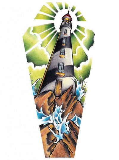 """Light House"" Canvas Coffin by Jay Boss for Black Market Art Company - www.inkedshop.com"