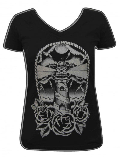 "Women's ""Light House"" V-Neck Tee by Black Market Art (Black) - InkedShop - 1"