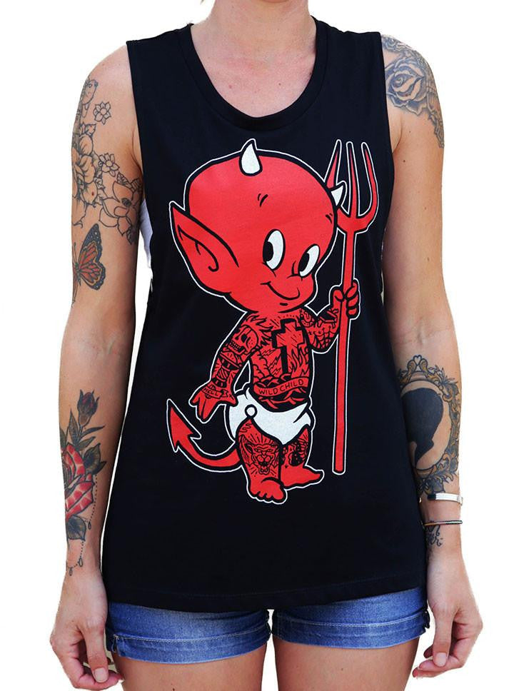 Women's Lil Devil Muscle Tank by Black Market Art