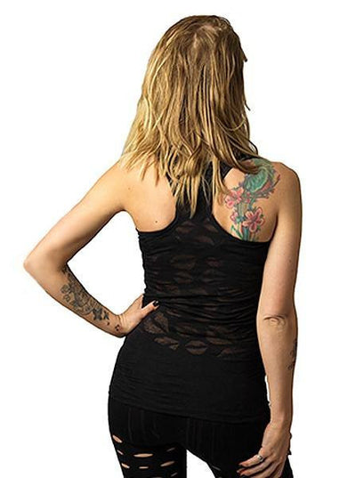 "Women's ""Lips"" Burnout Tank by Lethal Angel (Black) - www.inkedshop.com"