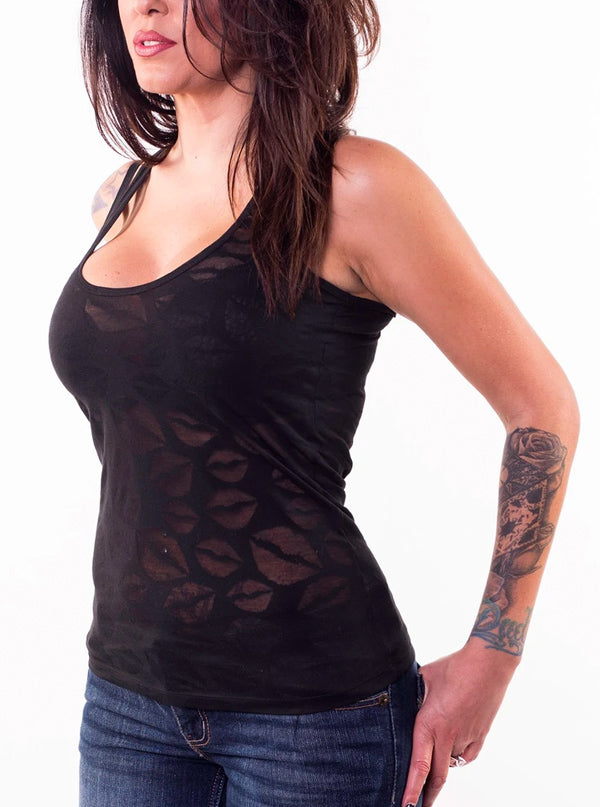 Women's Lips Burnout Tank by Lethal Angel